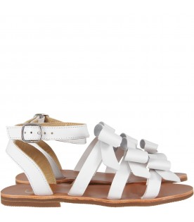 White sandals for girl with bows