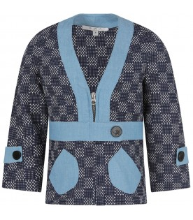 Blue ''Minori'' jacket for girl with micropatterns