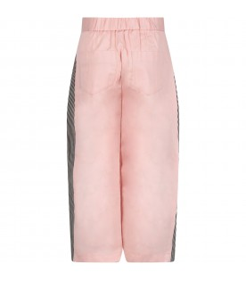 Pink ''Tomi'' girl pants with striped details