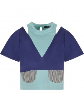 T-shirt ''Ema'' blue verde acqua per bambina con patch