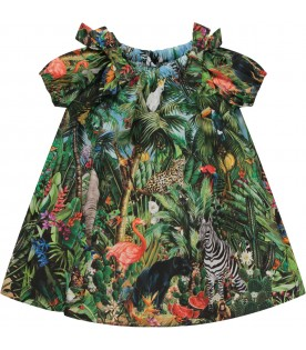 Multicolor babygirl dress with colorful animals