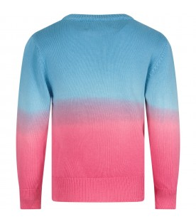 Light blue and fuchsia sweater for girl with fuchsia writing