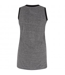 Silver girl dress with white logo