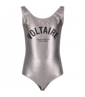 Silver swimsuit for girl with logo