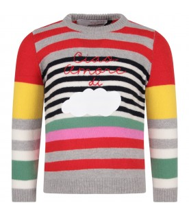 Multicolor sweater for girl with white cloud