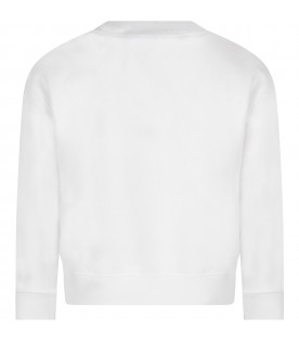 White sweatshirt for kid with white cloud