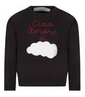 Black sweatshirt for boy with white cloud