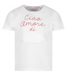 White T-shirt for kid with white cloud