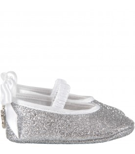 Silver babygirl flat shoes with logo