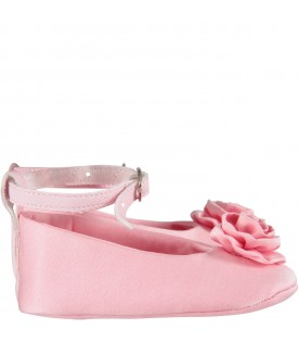 Pink flat for baby girl shoes with rose
