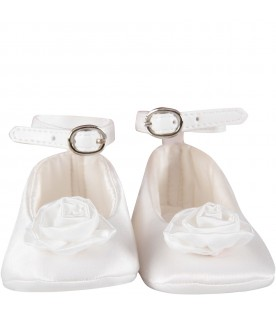 White babygirl flat shoes with rose