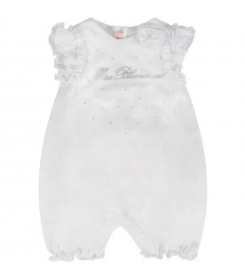 White babygirl rompers with rhinestoned lgoo