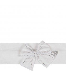 White babygirl headband with bow