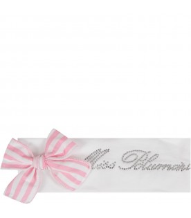 White babygirl headband with striped bow