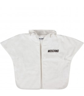 White babykids towelling robe with logo