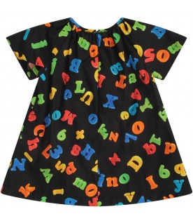 Black babygirl dress with colorful letters and numbers