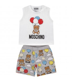 White and grey babyboy suit with Teddy bear and balloons