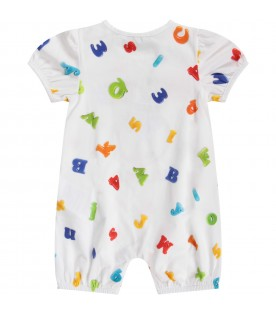 White rompers for babykid with colorful logo
