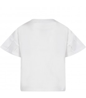 White kids T-shirt with colorful logo