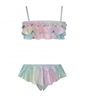 Multicolor girl swimsuit with ruffles