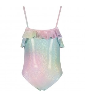 Multicolor girl swimsuit with glitter
