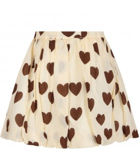 Ivory girl skirt with hearts