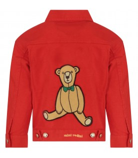 Red kids jacket with teddy bear