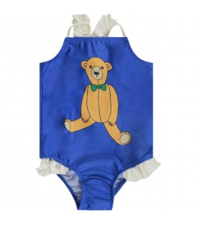 Costume blu royal per bambina con orsetto