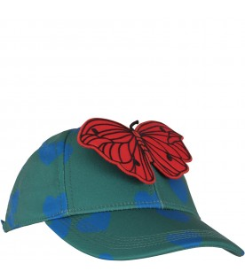 Green girl hat with butterfly