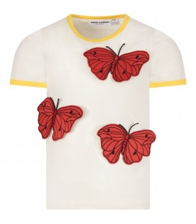 Ivory girl T-shirt with butterflies