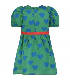 Green girl dress with blue hearts