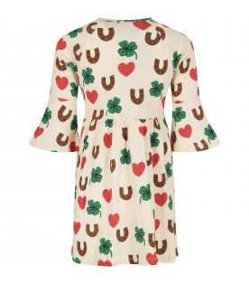 Ivory girl dress with colorful prints