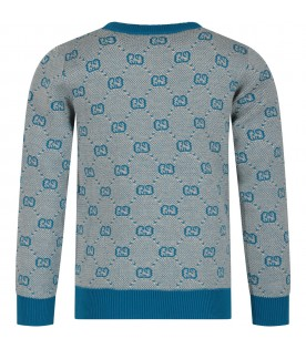 Light blue kids sweater with double GG