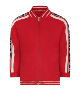Red sweatshirt for boy with double GG