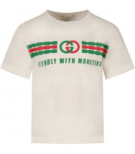 Ivory kids T-shirt with double GG