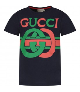 Blue kids T-shirt with red and green logo