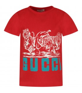 Red boy T-shirt with tigers