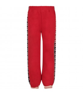 Red sweatpants for kid with double GG