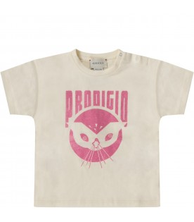 Ivory babygirl T-shirt with lurex pink writing