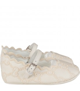 Ivory babygirl flat shoes with double GG