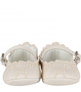 Ivory flat shoes for baby girl with double GG