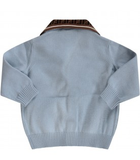 Light blue babyboy cardigan with double FF