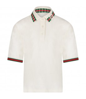 Ivory girl polo shirt with double GG
