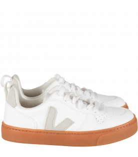 Ivory sneaker with beige logo for kid