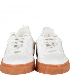 Ivory sneaker with beige logo for kids