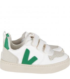 White sneaker with green logo for kids