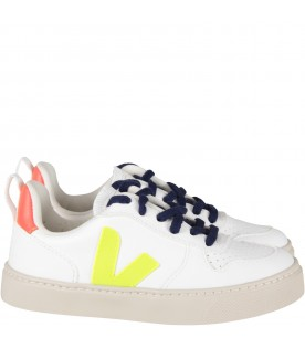 White sneaker with neon yellow logo for kids