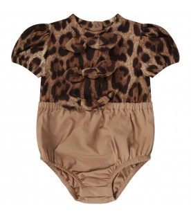Beige babygirl rompers with bows