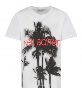 White T-shirt for boy with palm trees and logo