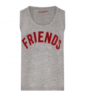 Grey girl tank top with red writing